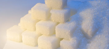 Sugar. Granulated and refined sugar in cool and warm light Stock Photo