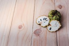 Sugar Apple Annona squamosa L. on wooden board, fruits of Thai. Land Royalty Free Stock Images