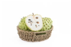 Sugar apple on the basket. Isolate on white background royalty free stock photo