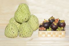 Sugar apple and Mangosteen fruits. Royalty Free Stock Photography