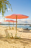 Sugar Beach. Is Toronto's second urban beach. This urban beach features pink umbrellas and white deck chairs (Muskoka chairs Royalty Free Stock Photo