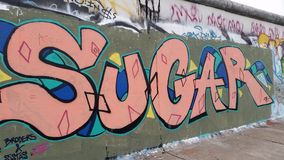 Sugar Berlin Wall. A portion of the Berlin wall that remains stock photography