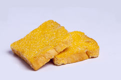 Sugar Biscuits. Dry sugar biscuit on white background Royalty Free Stock Photo