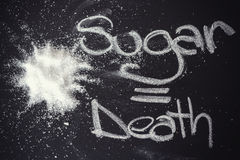 Sugar on black chalkboard from above Stock Images
