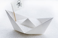 Sugar in a boat. White crystal sugar in a boat Royalty Free Stock Photo