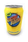 Sugar Bomb. Sugar loaded soda drink in a can with made up label Royalty Free Stock Images