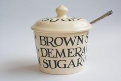 Sugar Bowl clássico com colher Front View Imagem de Stock