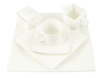 Sugar-bowl, cup and square plate composition Stock Images
