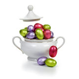 Sugar bowl with Easter eggs Royalty Free Stock Photography