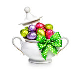 Sugar bowl with Easter eggs Stock Photography