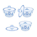 Sugar bowl faience part of porcelain vector. Illustration without gradients Stock Photo