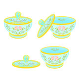 Sugar bowl with lid with floral pattern. Part tea service vector illustration Royalty Free Stock Photo