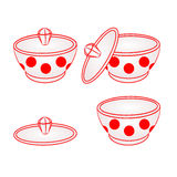 Sugar bowl with red dots vector Royalty Free Stock Image