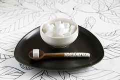 Sugar bowl with spoon Stock Image