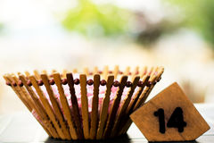 Sugar Bowl And Table Number Lizenzfreies Stockbild