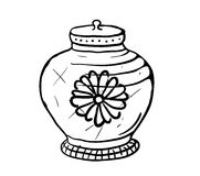 Sugar bowl, vector sketch illustration Stock Photos