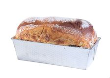Sugar Bread. Isolated loaf of sugar bread in baking pan Royalty Free Stock Image