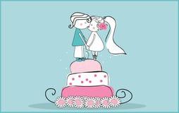 Sugar bride and groom. Vector illustration of sugar bride and groom on wedding cake Royalty Free Stock Photos
