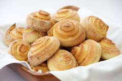 Sugar Buns. In wooden bowl with linen napkin Stock Image