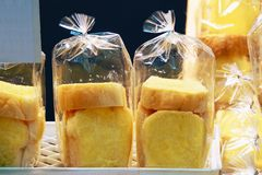 Sugar butter bread in plastic bag stock photo