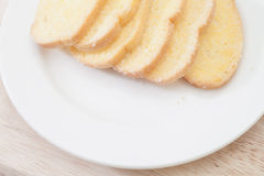 Sugar Butter Toast in White Plate Royalty Free Stock Image