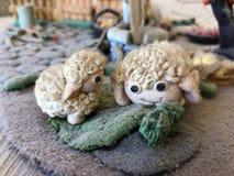 Sugar past figure. Marzipan sheep. Sugar, cake, sheep, art, background Royalty Free Stock Photography