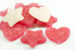Sugar candies. In the shape of heart and star Stock Photography