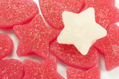 Sugar candies. In the shape of heart and star Stock Photos