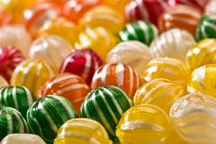 Sugar candy. Food serias: sweet background of striped sugar candy Stock Image