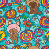 Sugar candy colorful bear bird seamless pattern Royalty Free Stock Images