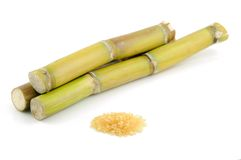 Sugar cane and brown sugar Royalty Free Stock Images