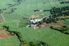 Sugar cane factory. Aerial view of sugar cane factory in Mauritius stock image