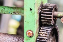 Sugar cane juice by maker manual machine stock photo