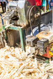 Sugar cane juice  making machine with bagasse. Stock Photo