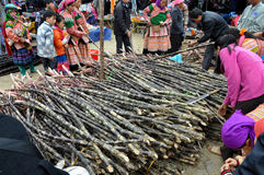 Sugar cane on a local market. Bac Ha, Vietnam Stock Images