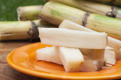 Sugar cane. Photo of small trunks of sugar cane on a plate of orange color, winged trunks are seen whole of reeds stock images