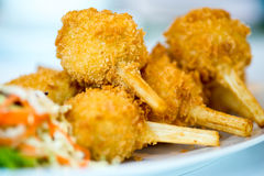 Sugar cane skewered fried minced shrimps or Chao tom Stock Photography