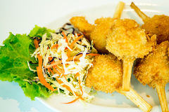 Sugar cane skewered fried minced shrimps or Chao tom Royalty Free Stock Photography
