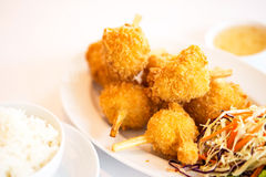 Sugar cane skewered fried minced shrimps or Chao tom Stock Photo