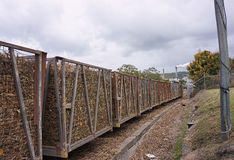 Sugar cane train bins. Bins of chopped sugarcane heading for the mill Royalty Free Stock Photo
