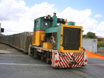Sugar cane train. Locomotive taking bins of chopped sugarcane to the mill Stock Photography