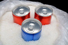 Sugar in carbonated drinks. sweet background and canned drinks concept Stock Photos