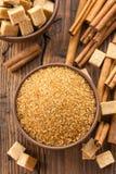 Sugar and cinnamon stock photo