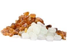 Sugar.Close para arriba en un fondo blanco Foto de archivo libre de regalías