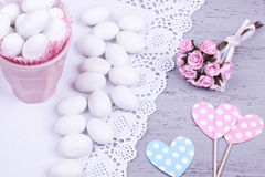 Sugar coated almond candy Stock Photos