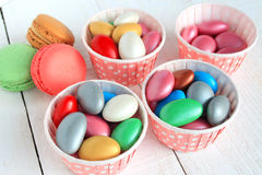 Sugar Coated Candy and Macaroon Stock Photo