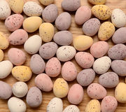Sugar coated chocolate eggs Stock Images