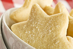 Sugar coated shortbread cookies in star sha Royalty Free Stock Images