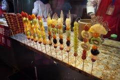 Sugar coating fruit skew at Wangfujing, Beijing Royalty Free Stock Photo