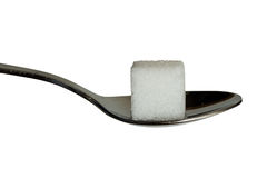 Sugar cobe on a teaspoon. Closup of a sugar cube on a teaspoon. good sharpness for a closeup Royalty Free Stock Images